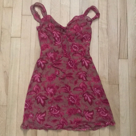 49b8e41b054 Sweet Fling Mini Dress Fuchsia Pink Print NWT